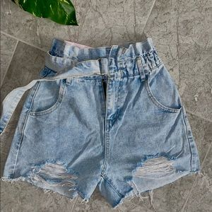 Jean shorts / silk rust shorts